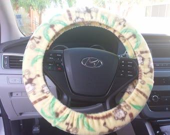 Fleece Steering Wheel Cover - Monkeys