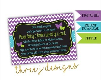 Butterfly Baby Shower Books for Baby Cards - INSTANT DOWNLOAD - Purple, Teal and Green - Digital File - J006