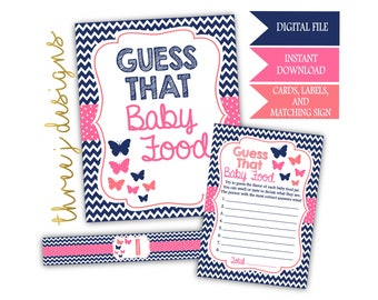 Butterfly Baby Shower Guess That Baby Food Game Cards, Labels and Sign - INSTANT DOWNLOAD - Navy Blue, Pink and Coral - Digital File - J003