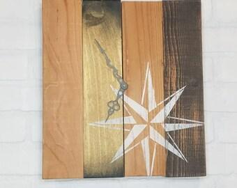 Rectangular Wall Clock - Brown & Gold Nautical Star