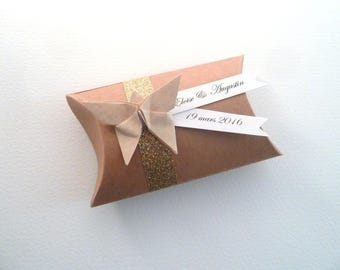 Box dragees pillow kraft glitter + Butterfly origami beige - thank you gift christening, wedding guests
