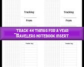 Midori Travelers Notebook or Fauxdori Insert Track 44 Things for a Year. 9 Travelers Notebook Sizes, 40 Cover Color Choices