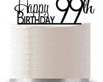 Happy 99th Birthday Agemilestone Elegant Cake Topper