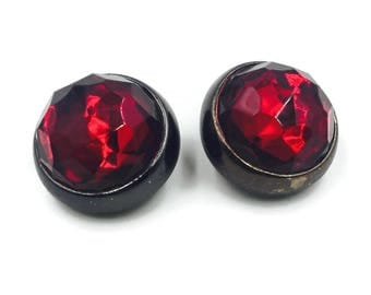 YSL Vintage Saint Laurent Rive Gauche Red Round Faceted Earrings F/W '84