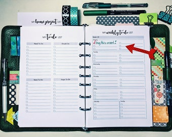 To-Do List Bundle,to do,  Printable, Weekly To-Do List, To-Do List by Importance any criteria, Home Project. planner inserts, half page, A5