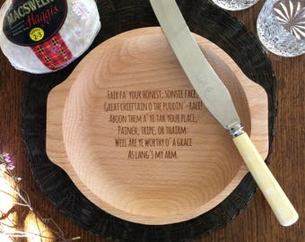 Wooden Burns Night Haggis Plate