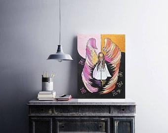 Angel - original modern acrylic painting on canvas