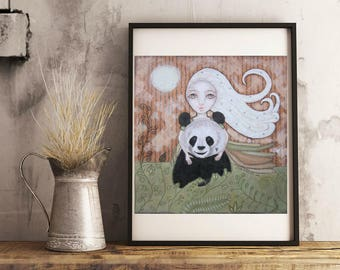 Lovely girl with her panda friend - quality print of original painting