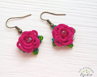 Red flower earrings, Tatting lace jewelry, 3D tatted flowers, Gift for mom