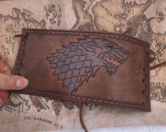 Leather Game of Thrones Stark Wolf Handmade Lace up Arm Cuff Bracer Bracelet Winter is coming