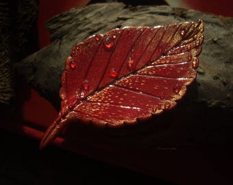 Brooch tree leaf, plant brooch, flower brooch, leaf with dew drops, dew, water drops, red leaves, autumn leaf, fire, flame - Hyperion