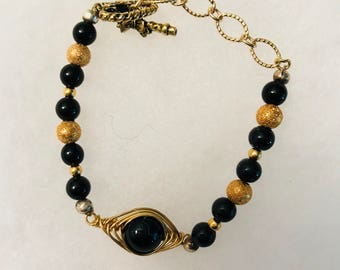Black and Gold Herringbone bracelet