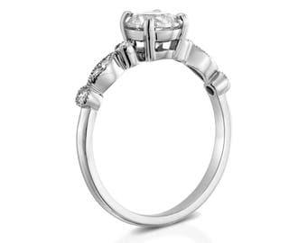 2 Carat F SI1 Natural Diamond Engagement Ring Round Cut 14K White Gold
