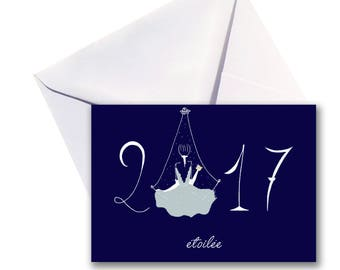Folded 2017 greeting card, white envelope.