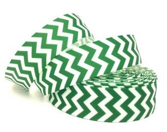 Green Chevron Ribbon, Green Ribbon, Green Chevron, Green Grosgrain, Green Zig Zag ribbon, Emerald Ribbon, Emerald Grosgrain, Emerald Chevron