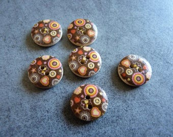 Decorated for quilting or sewing wooden buttons