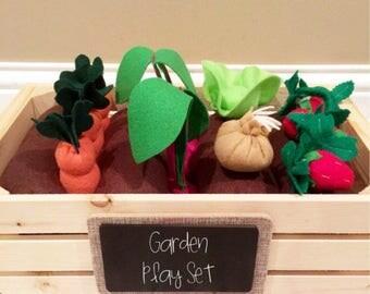 Garden Play Set, Felt Garden, Montessori Toy, Deluxe Garden, Eco-friendly, Felt Food, Educational, Play Food, Pretend, Pretend Food, Prop