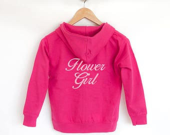 Personalised Hoodie, Cute Gift for Flower Girl, for Mini Bridesmaid, An Alternative to Flower Girl Robe, Personalised Flower Girl Gift