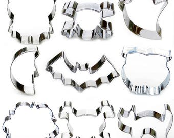 Halloween Cookie Cutter Set - 9 Piece Stainless Steel - USA FREE Shipping