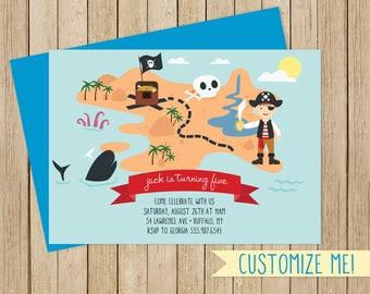 Kids Pirate Invitation / Customizable Pirate Birthday Invitation