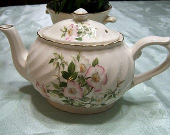 Arthur Wood & Sons Porcelain Teapot~Staffordshire, England~Pink Wild Roses~Marked #6309