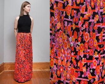 Vintage 1970's | Bright | Mod | Floral | Maxi Skirt | S