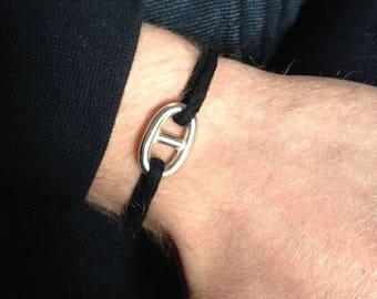 Bracelet maille marine sur Cordon. argent 925