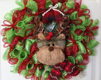FLASH SALE- Reindeer Wreath, Christmas Wreath, Holiday Wreath, Christmas Decor, Christmas Door Wreath, Mesh Christmas Wreath, Red and Green
