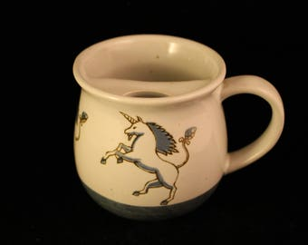 RARE Vintage Unicorn Mustache Mug Stoneware Blue Two Tone Embossed Design Shaving Cup Gift Man Otagiri