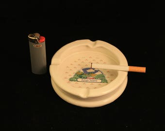Vintage King's Island Ceramic Ashtray Country Farm Scene Collectible Gift