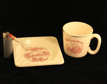 Vintage Williamsburg, VA Ceramic Ashtray and Mug Red Transfer Ware Travel Souvenir Gift