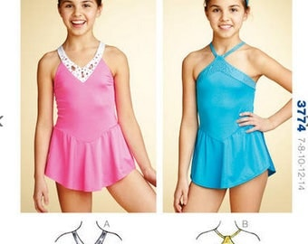 Kwik Sew sewing pattern K3774 Girls' Skirted Leotards, 2 Styles, Childrens, Teen Girls - new and uncut