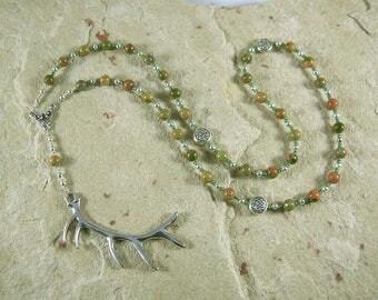 Cernunnos (Kernunnos) Prayer Bead Necklace in Unakite: Gaulish Celtic God of Nature and Wild Beasts