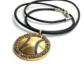 Gold Baseball Necklace