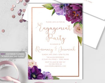 Purple Engagement Party Invitation / Purple Flowers, Anemone, Peony, Ranunculus, Rose Gold ▷ Printed Heavy Paper {or} Printable