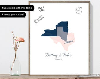 Watercolor Guest Book Alternative / Wedding Love Map: New York & Texas Map / Blush and Navy Blue Map / Watercolor Canvas or Framed Print