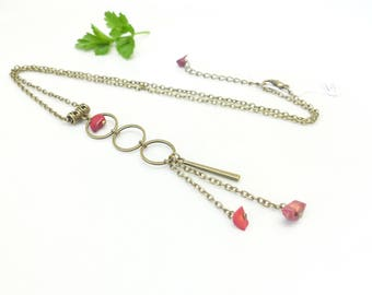 Necklace ~, ~ red stones ~, ~ Red Sea bamboo