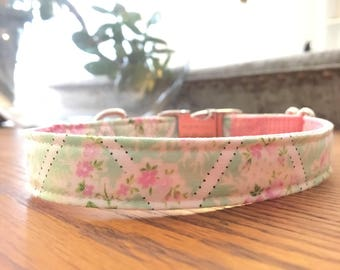 Spring floral Dog Collar for Easter - Pink Floral Dog Collar - Dog Collar - Dog Collar for Wedding - Girl Dog Collar - Designer Dog Collar