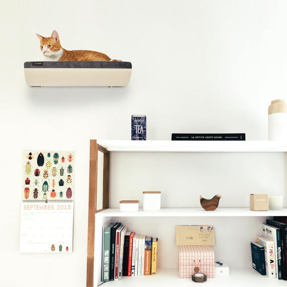 cat bed wall mounted shelf cat seat wall shelf gray cat. Black Bedroom Furniture Sets. Home Design Ideas