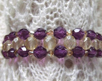Purple and champagne Czech glass beads bracelet