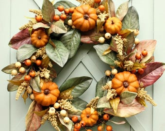 Fall Wreath ~ Fall Pumpkin Wreath ~ Fall Magnolia ~ Fall Leaf Wreath ~ Autumn Wreath ~ Fall Decor ~ Farmhouse Decor ~ Thanksgiving