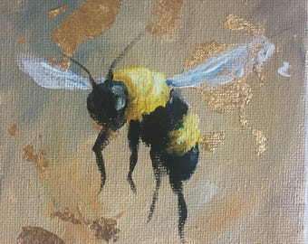 Bumblebee Painting with Gold Flakes