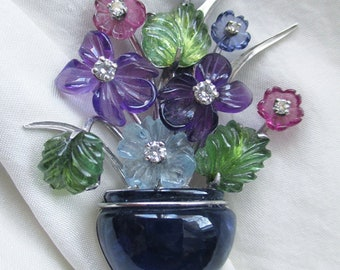 Gorgeous One Of a Kind Carved Gemstone & DIAMONDS Floral Vase BROOCH / PIN and Appraisal Report