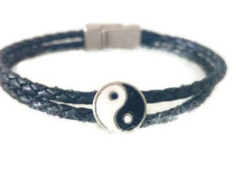 """Ying and yang"" mens bracelet black and black braided leather ""father's day"""