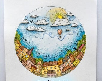 Bright World - original watercolor illustration