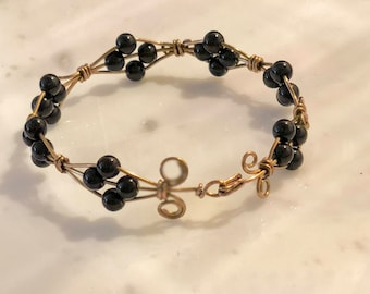 Black-Beaded Bronze Wire Bracelet