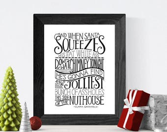 Christmas Vacation Hand Lettered Quote Wall Art, Art Print, Holiday Home Decor // Clark Griswold // Great Christmas Gift