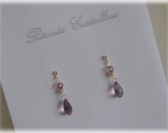 Old pink and silver wedding earrings, Swarovski crystals, crystal earrings - old pink and silver earrings