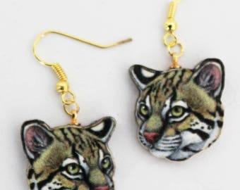 Lovely and Colorful Ocelot Earrings . Leopardus pardalis.