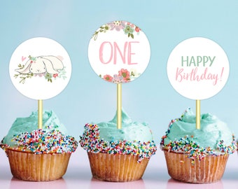 Some Bunny Cupcake Toppers Girl Birthday Party Printable Cupcake Toppers 2nd And 1st Birthday Party Decor Bunny Birthday DIGITAL DOWNLOAD